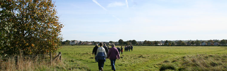 Group of people walking across a field